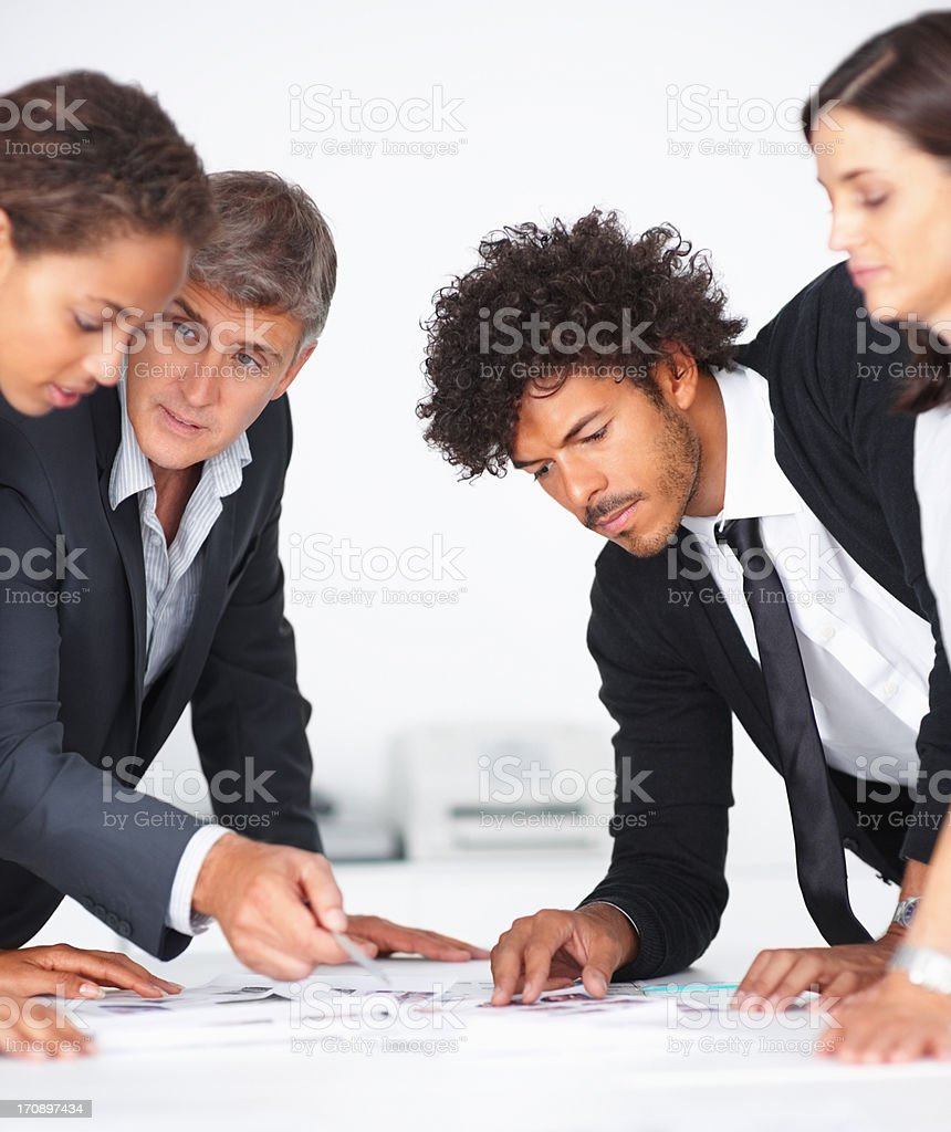 Busy business team during a meeting stock photo