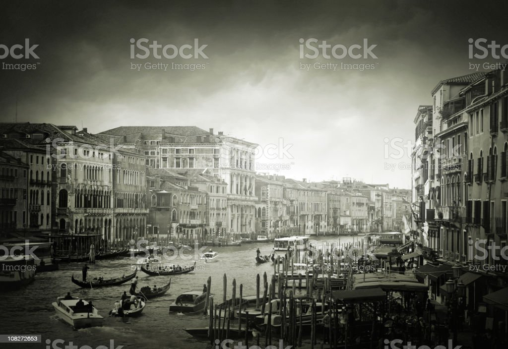 Busy Canal in Venice royalty-free stock photo