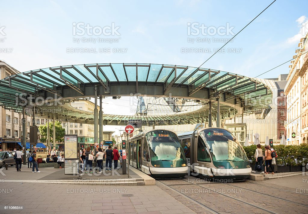 Busy center of the French city of Strasbourg, Alsace tramway stock photo