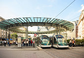 Busy center of the French city of Strasbourg, Alsace tramway