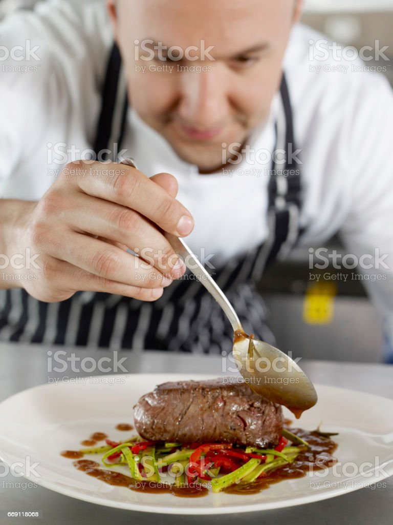 busy chef stock photo