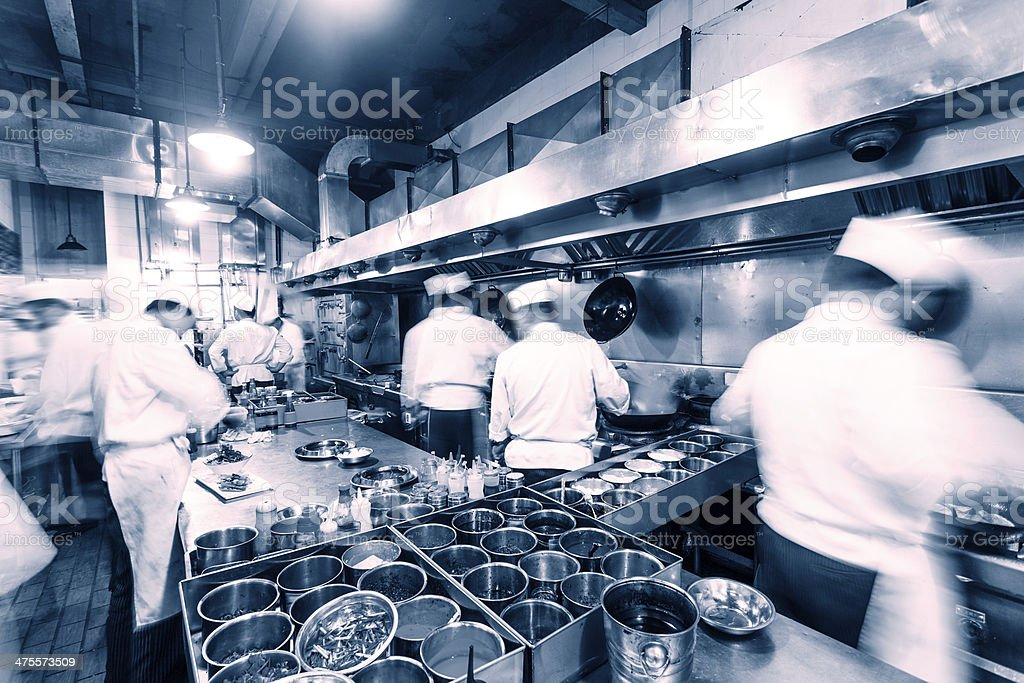 Busy Chinese kitchen stock photo
