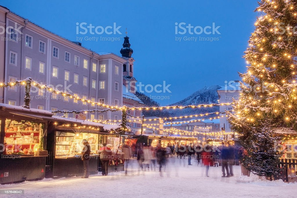 Busy Christmas Market in Europe stock photo