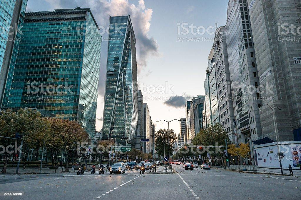 Zajęty City Scape o zachodzie słońca zbiór zdjęć royalty-free