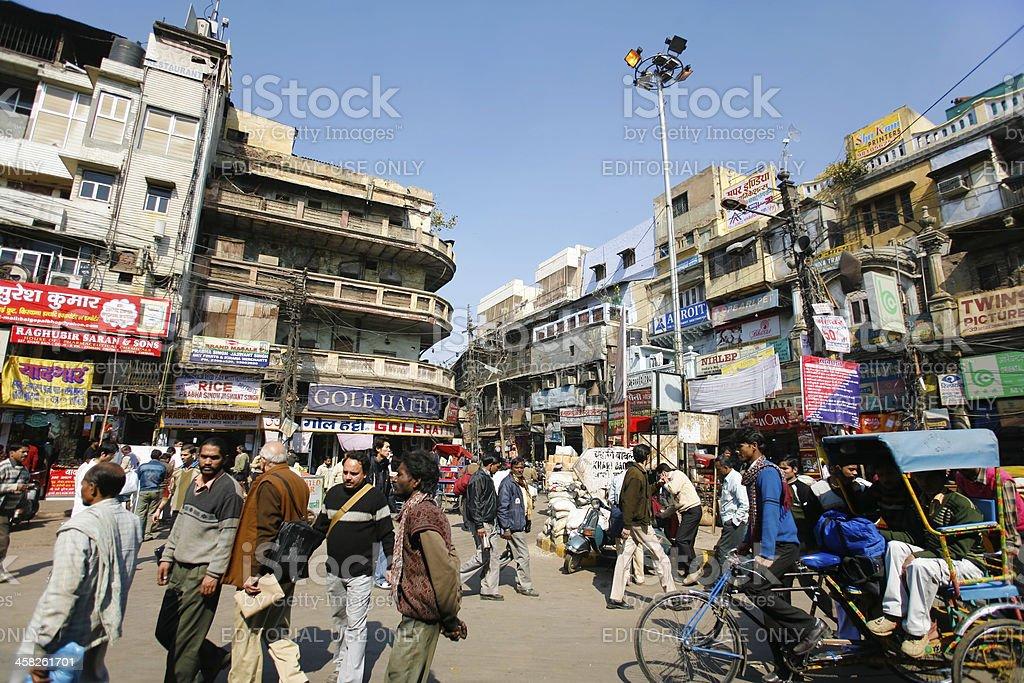 Busy city street in delhi, india stock photo