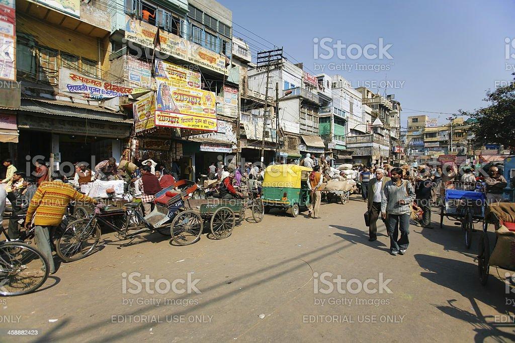 Busy city street scene royalty-free stock photo