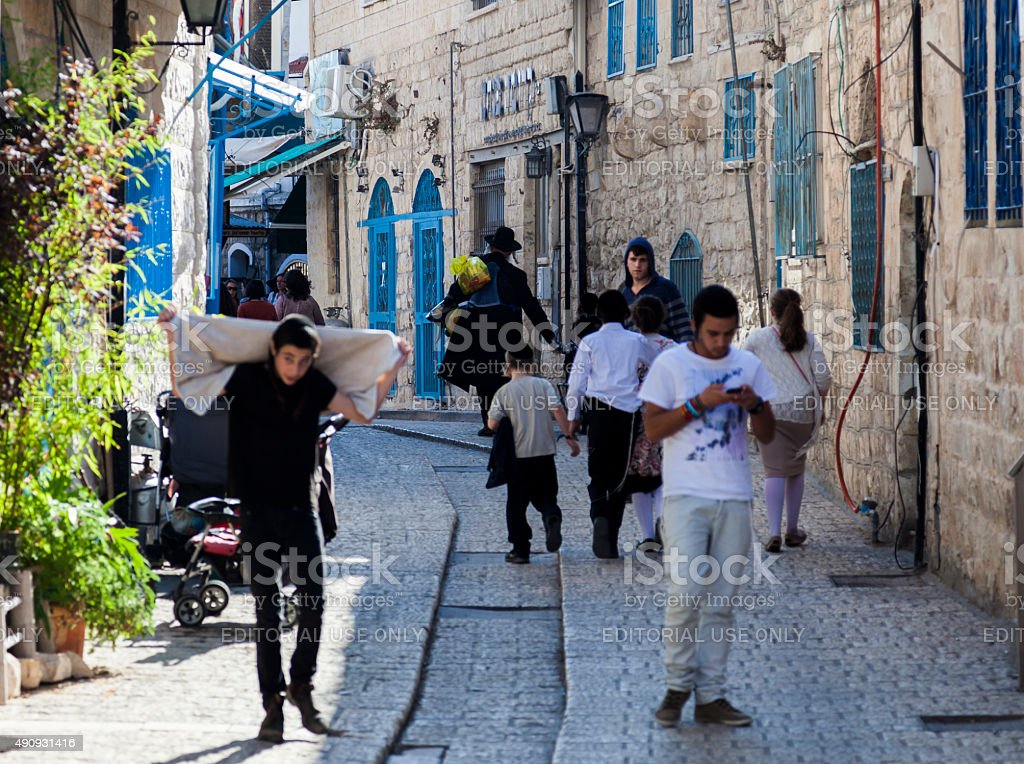 Busy city street. Tzfat (Safed). Israel stock photo