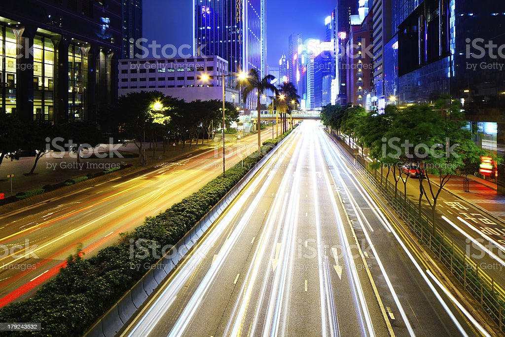 busy city traffic road at night royalty-free stock photo