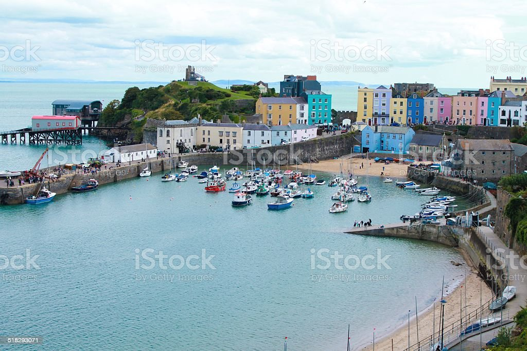 Busy colorful harbour stock photo