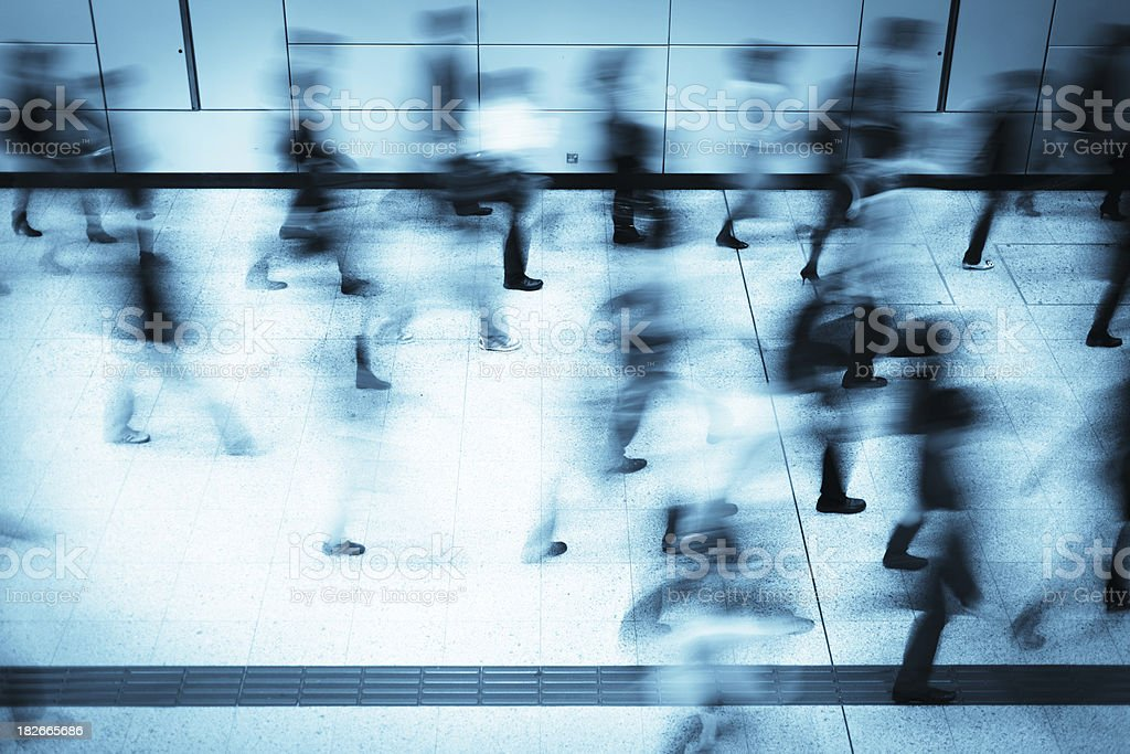 Busy Commuters in Subway Station Motion Blur royalty-free stock photo