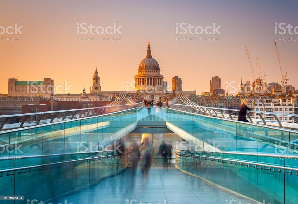Busy commuters on their way home in London stock photo