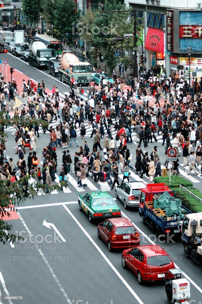 Busy crossing in Shibuya stock photo