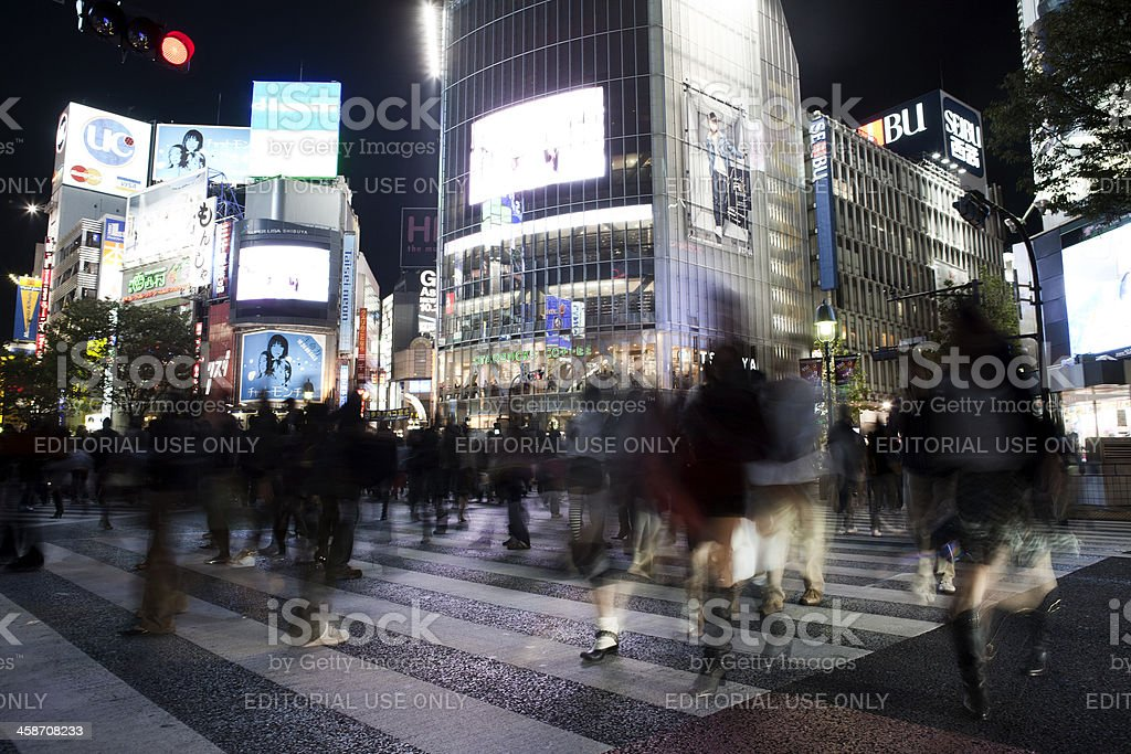Busy crossing in Shibuya, Tokyo stock photo