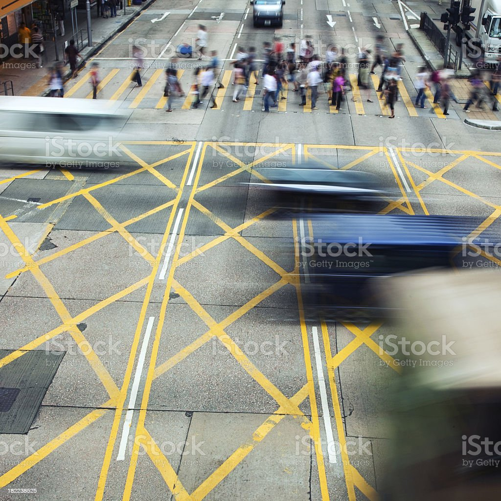Busy Crosswalk in Hong Kong royalty-free stock photo