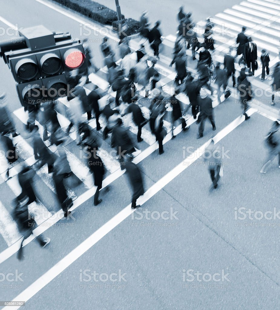 Busy Crosswalk  Scene from Above stock photo