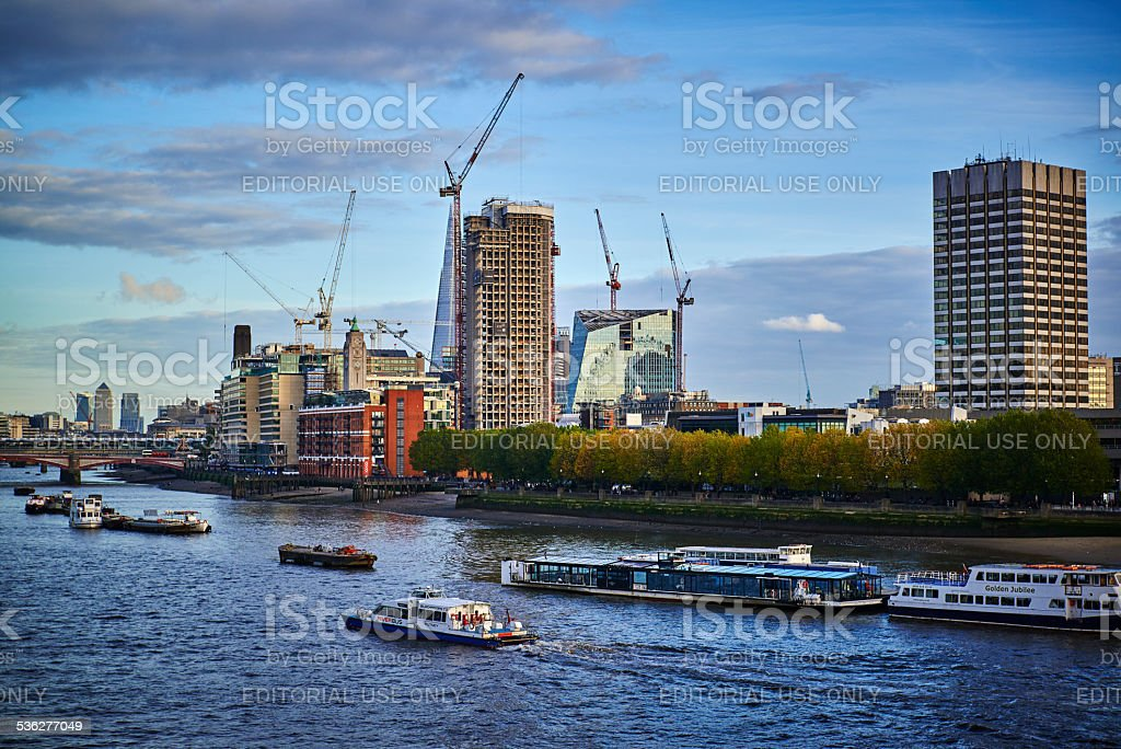 Busy day at River Thames Central London Southern river bank stock photo