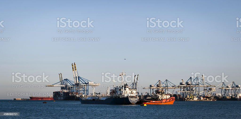 Busy day at the Malta Freeport, Birzebugia stock photo