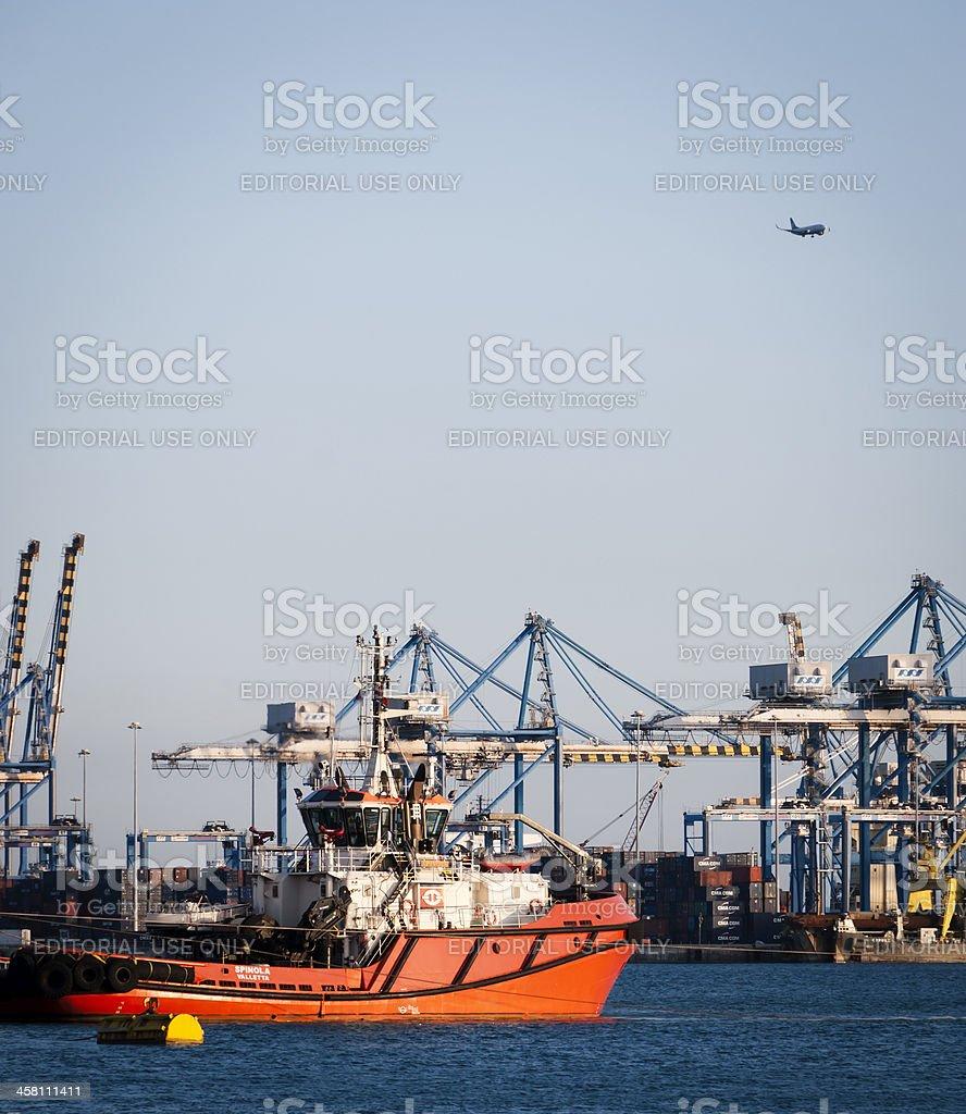 Busy day at the port, Birzebugia, Malta stock photo