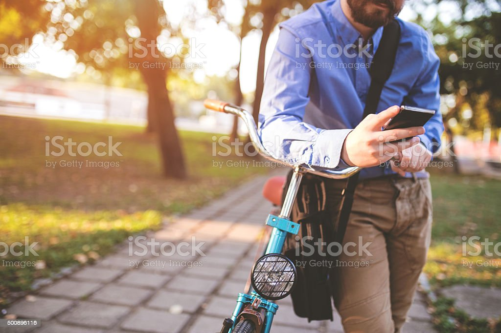 Busy day on a bicycle stock photo