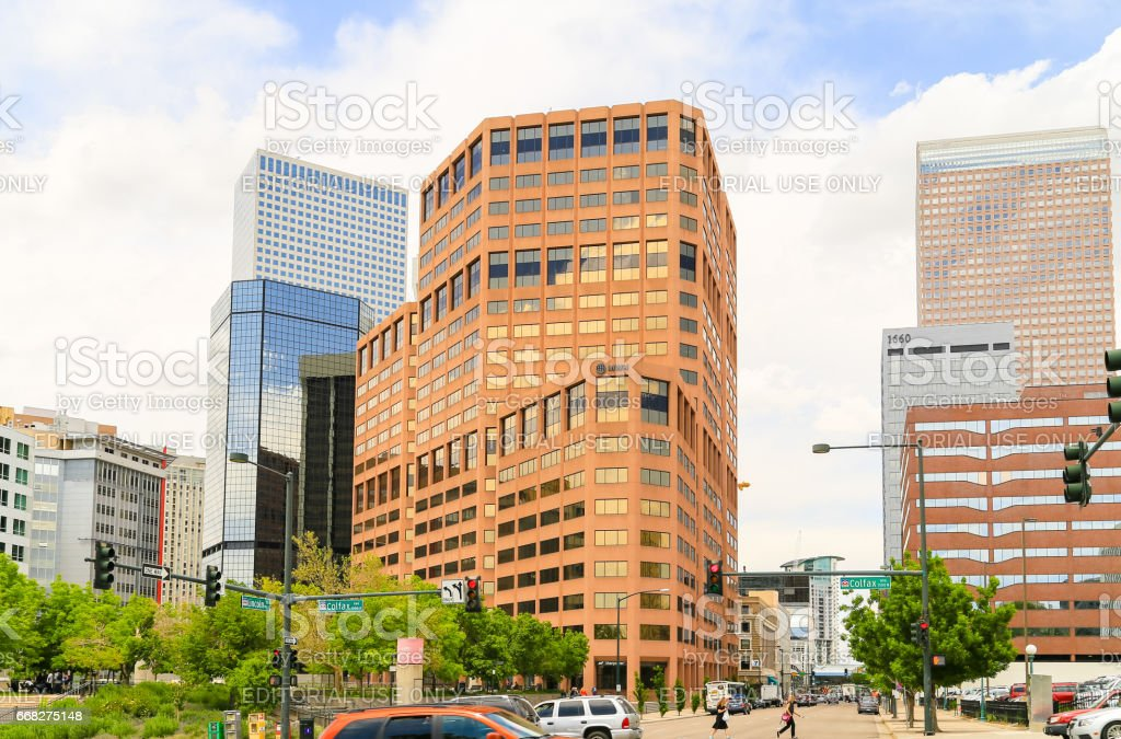 Busy Downtown Denver stock photo