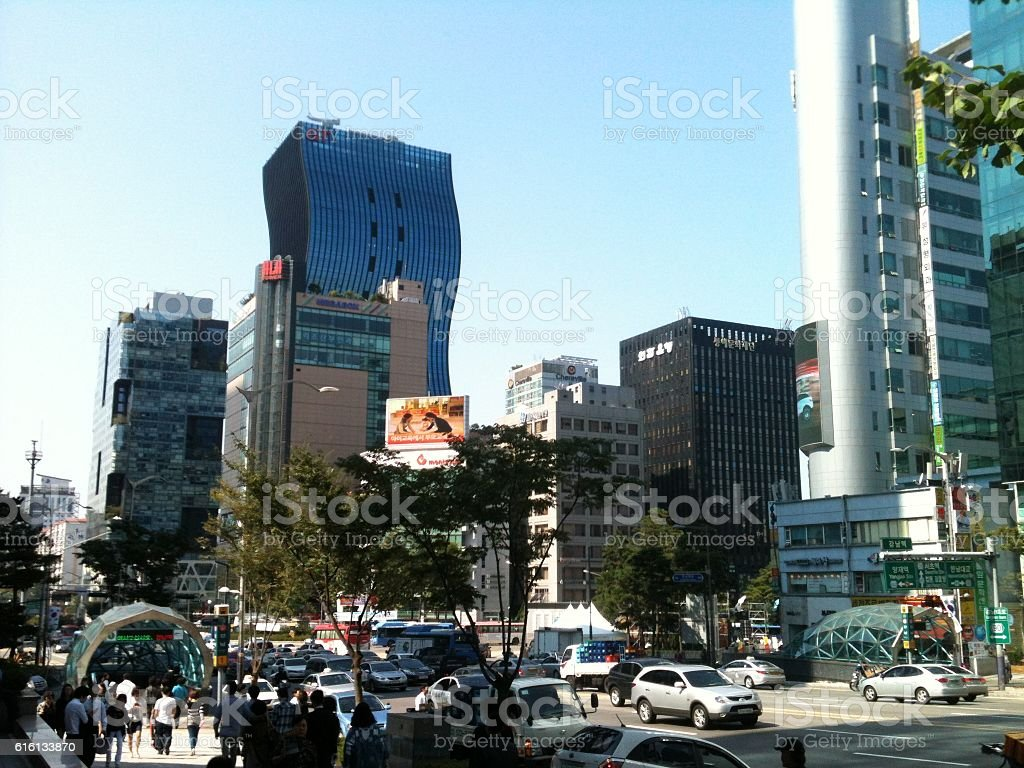 Busy downtown stock photo