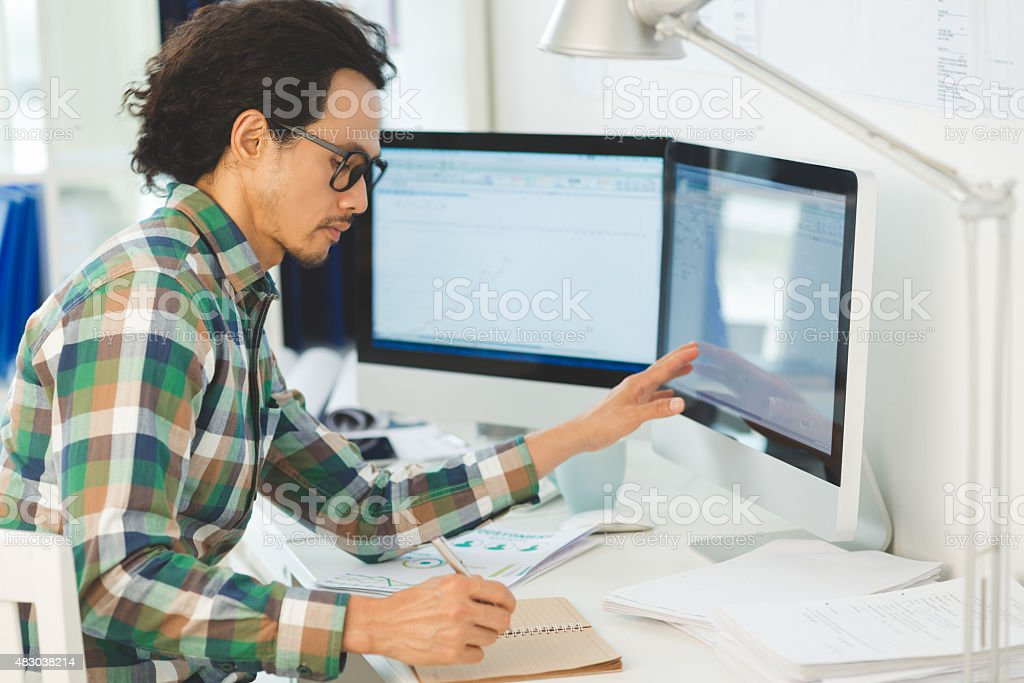 Busy financial manager stock photo