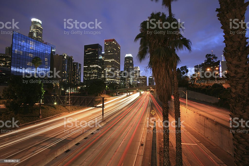 Busy LA Freeway at night stock photo
