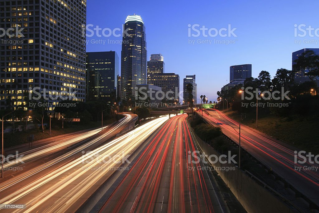 Busy Freeway Traffic in LA downtown stock photo