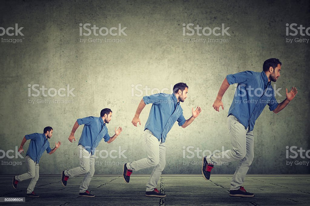 Busy growing man stock photo