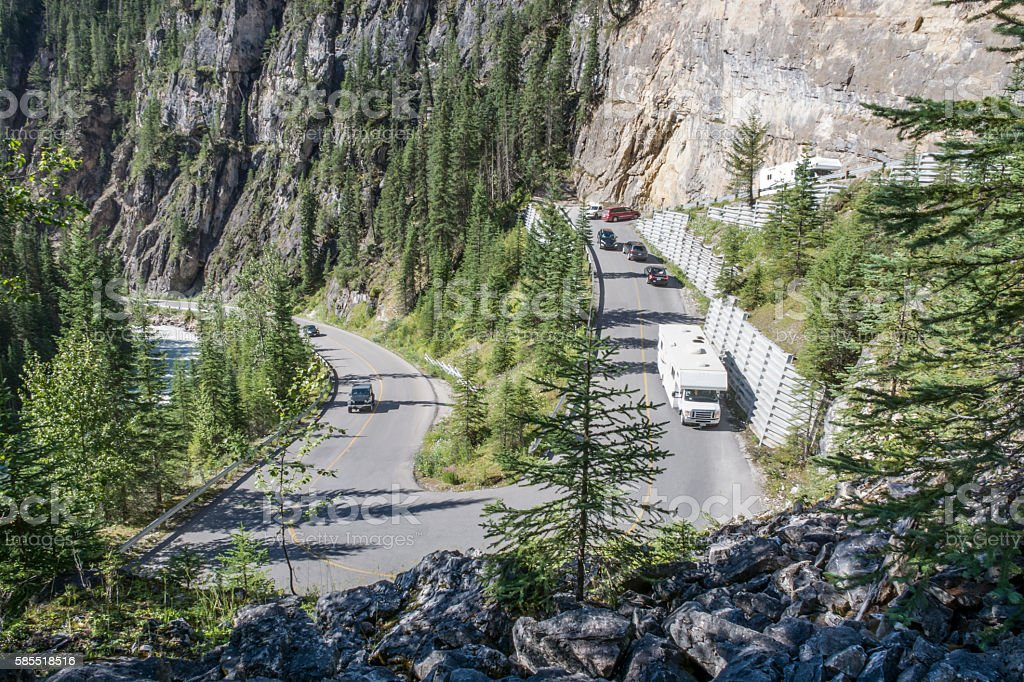 Busy Hairpin Switchback on a Mountain Highway stock photo