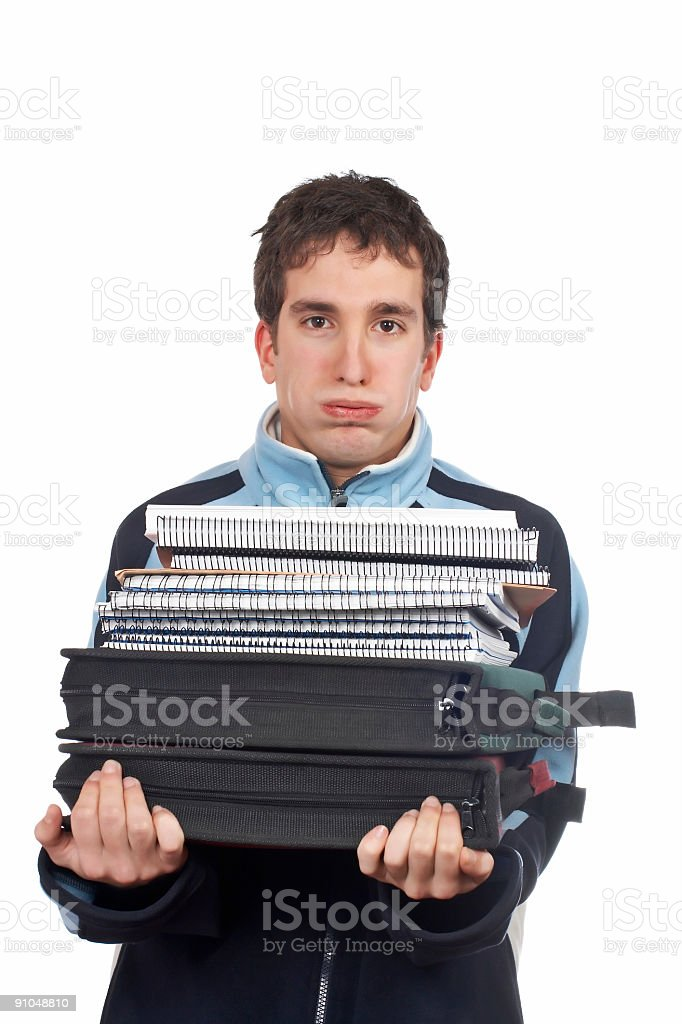 Busy handsome teenager royalty-free stock photo