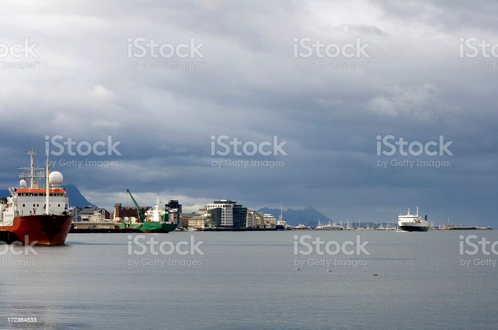 Busy harbor in northen Norway royalty-free stock photo