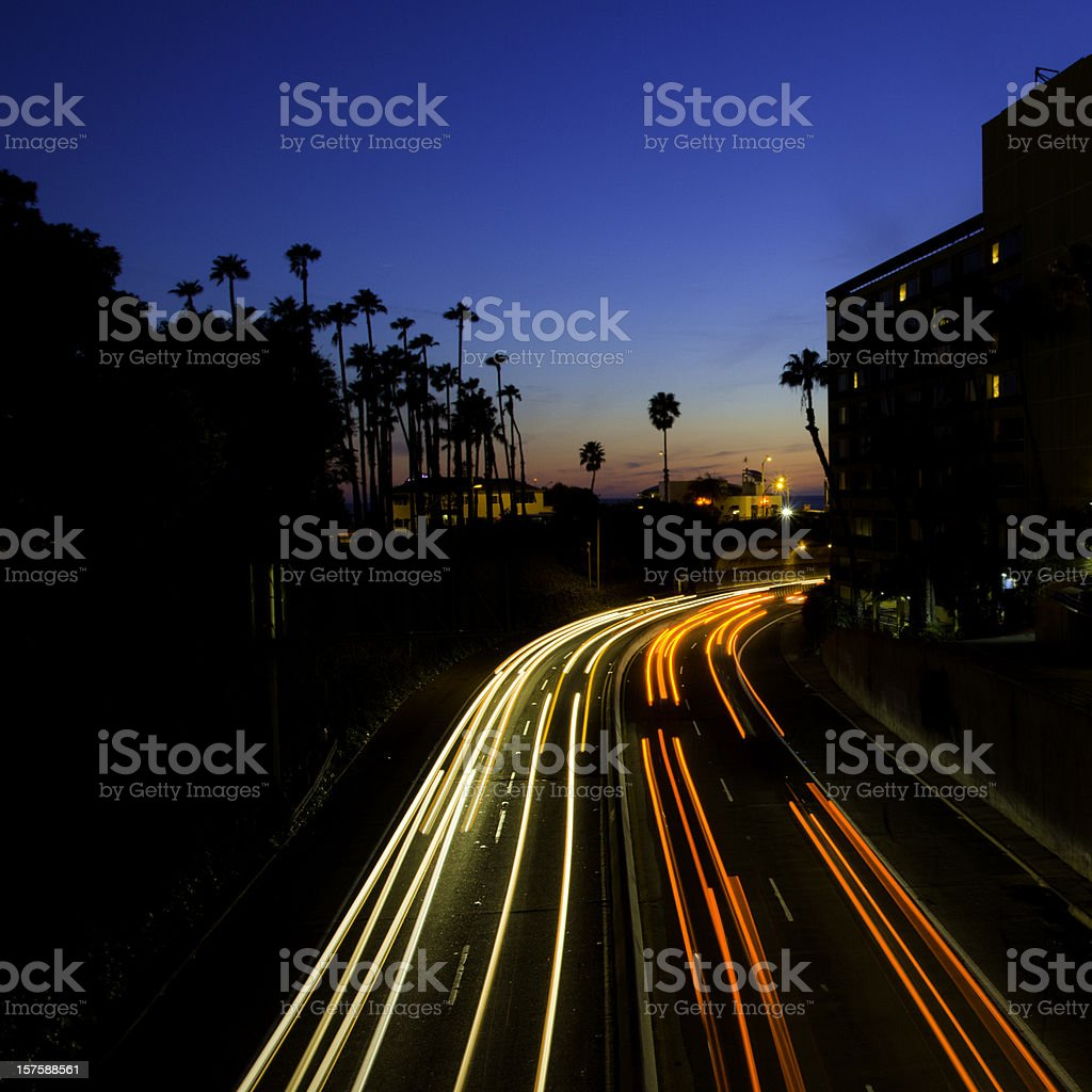 Busy Highway At Night royalty-free stock photo