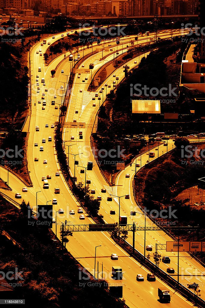 busy highway during sunset royalty-free stock photo