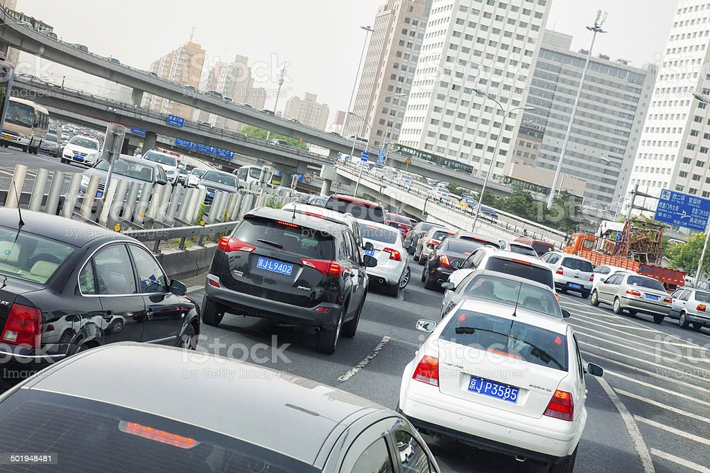 Busy Highway in Beijing, China stock photo