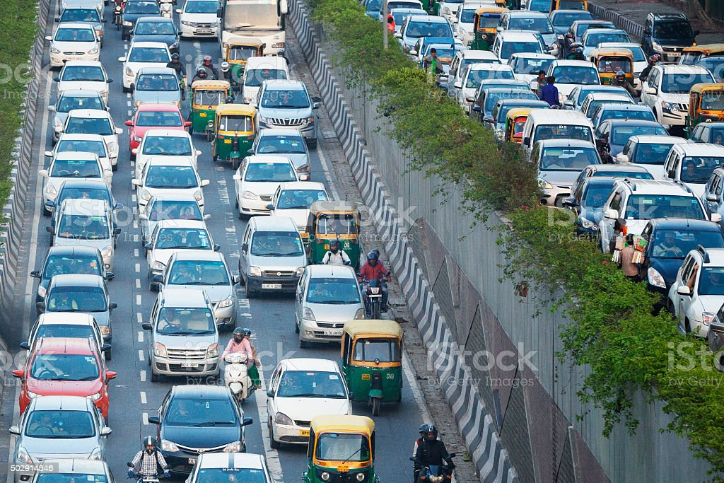 Busy highway in Delhi, India stock photo