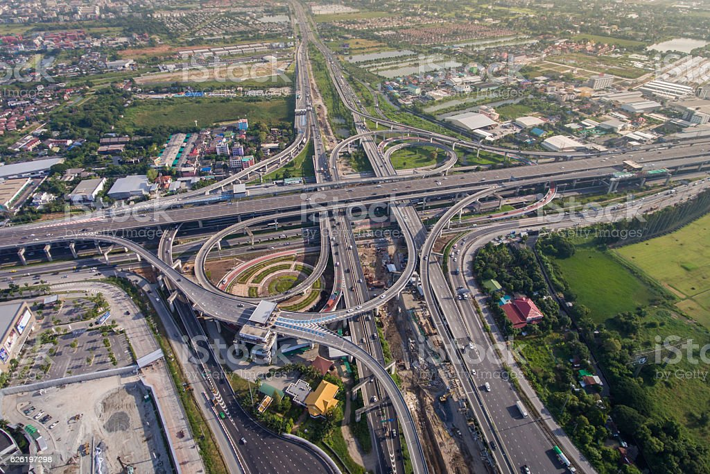 Busy highway junction from aerial view stock photo