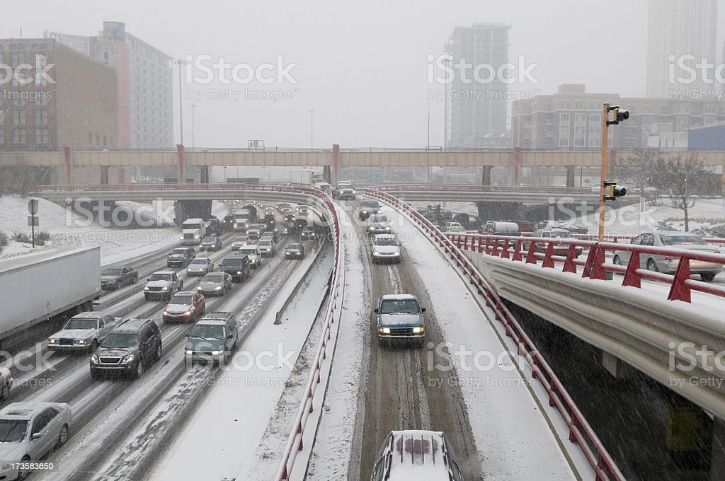 Busy Highway on a Snowy Day stock photo