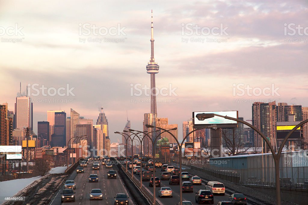Busy highway to Toronto Downtown. Toronto, Ontario, Canada stock photo