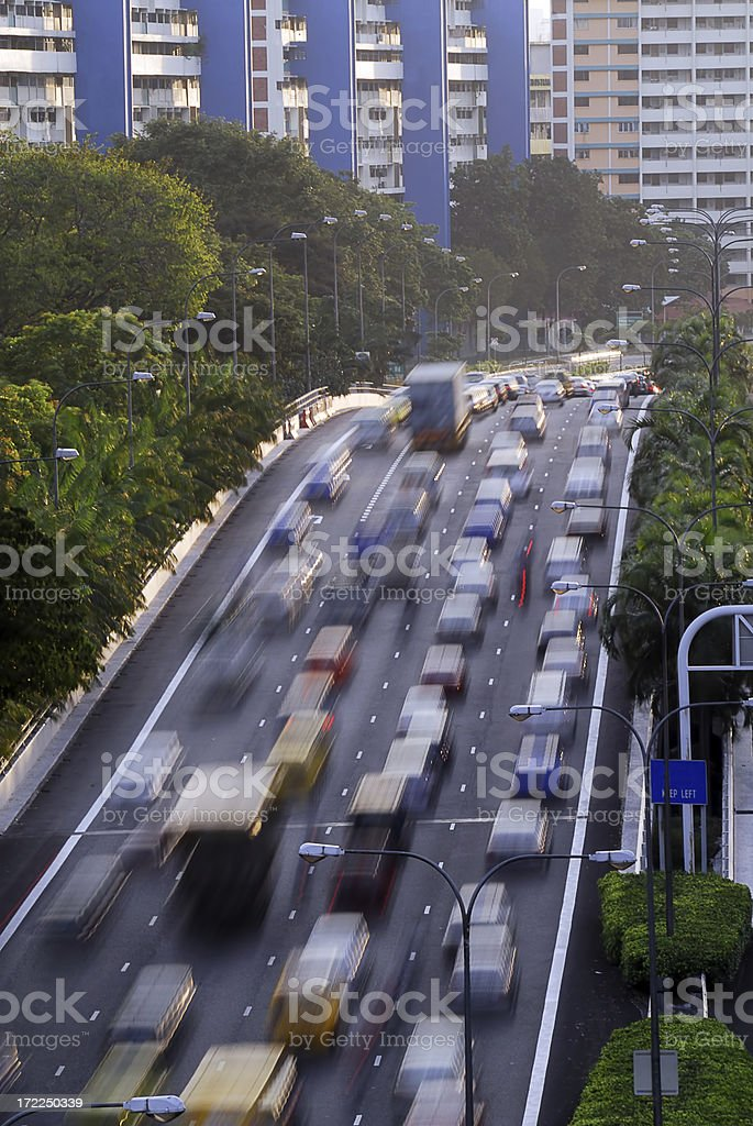Busy Highway with cars in motion royalty-free stock photo