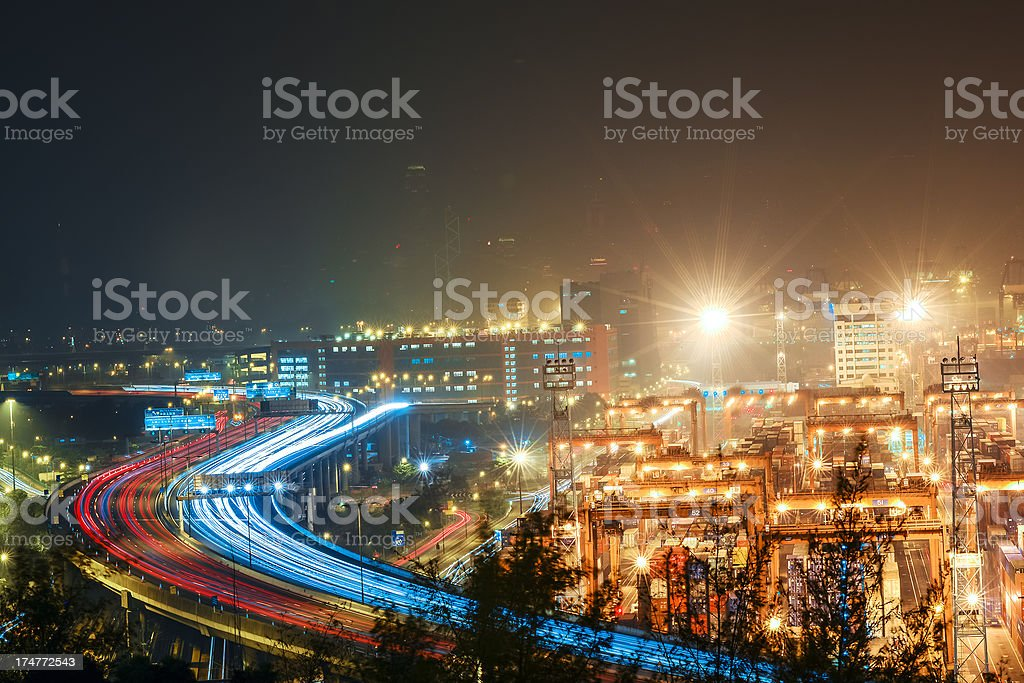 busy highway with harbor royalty-free stock photo