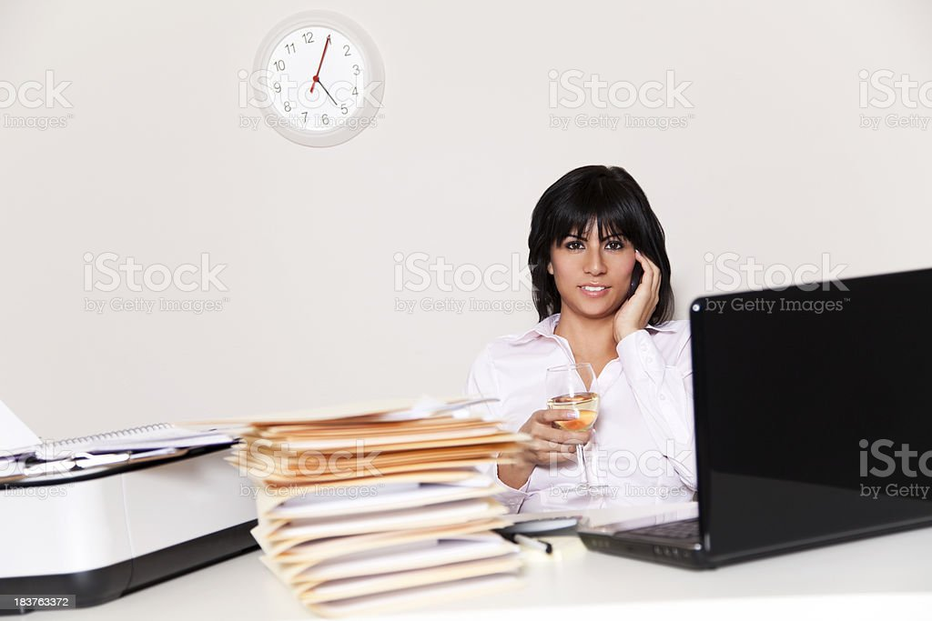 Busy hispanic businesswoman royalty-free stock photo