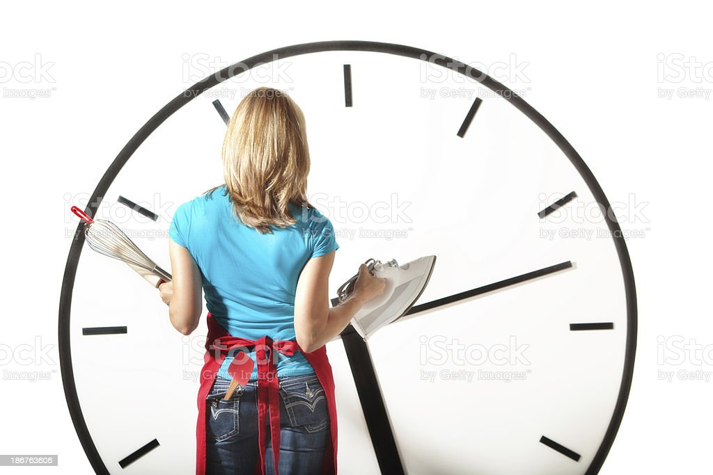 Busy Housewife Facing Time Management in House Work stock photo