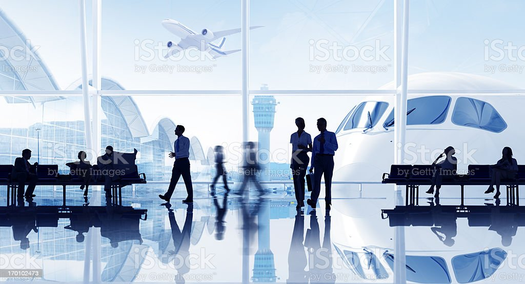 Busy International airport with business people. royalty-free stock photo