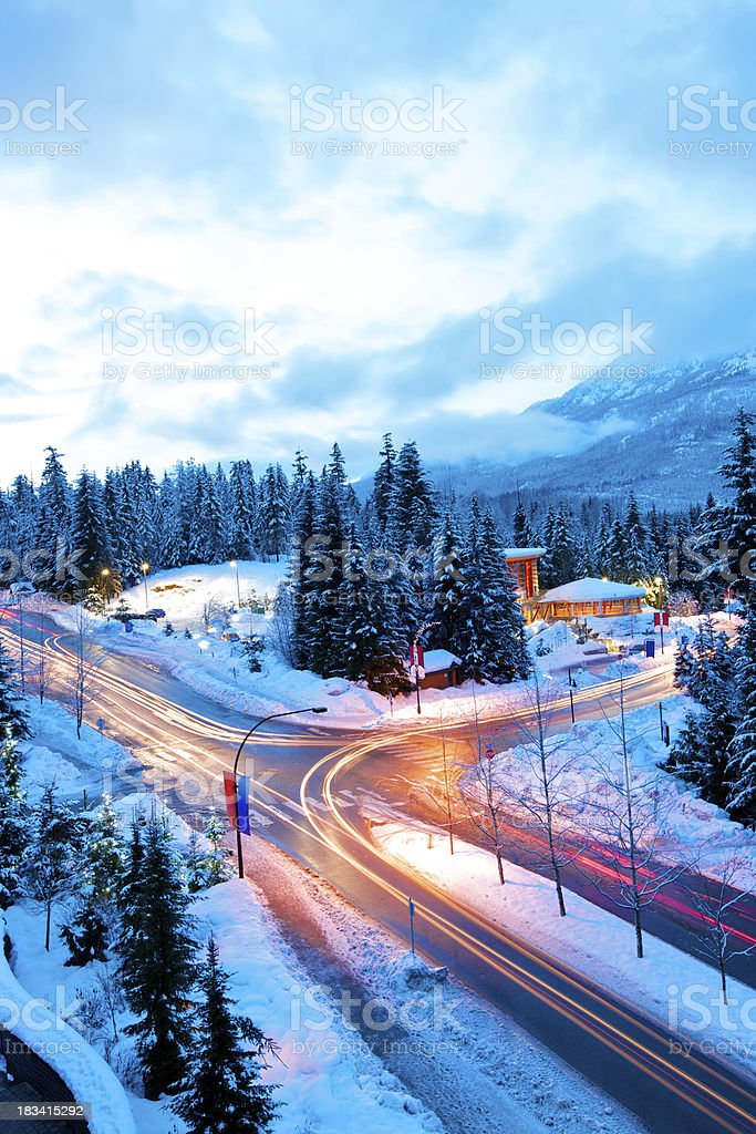 Busy intersection in Whistler mountain stock photo