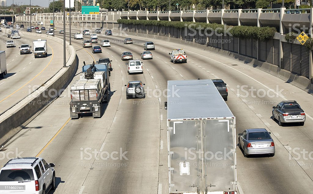 Busy Interstate Freeway royalty-free stock photo