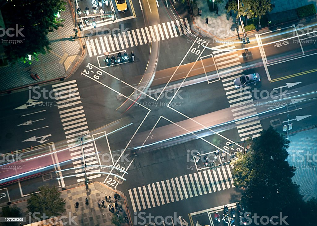 Busy Junction at Night from Above royalty-free stock photo