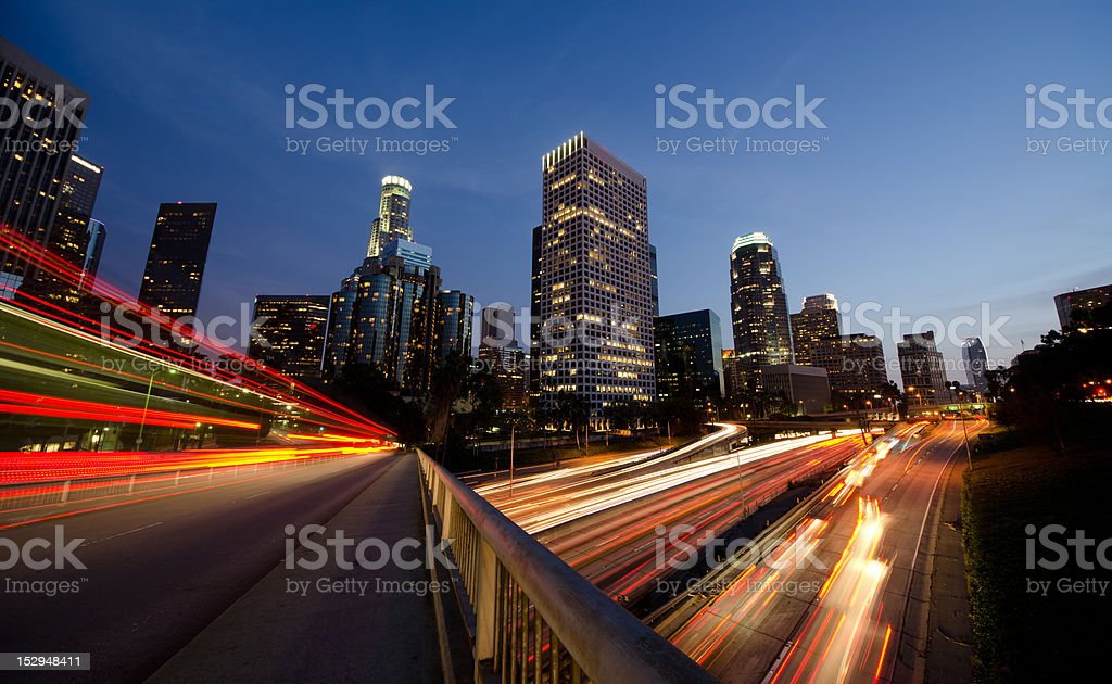 Busy Los Angeles at night royalty-free stock photo