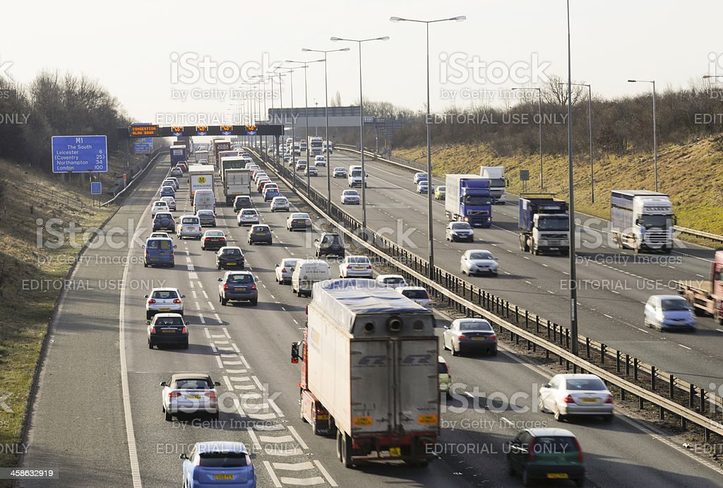 Busy M1 motorway in Leicestershire during morning rush hour stock photo