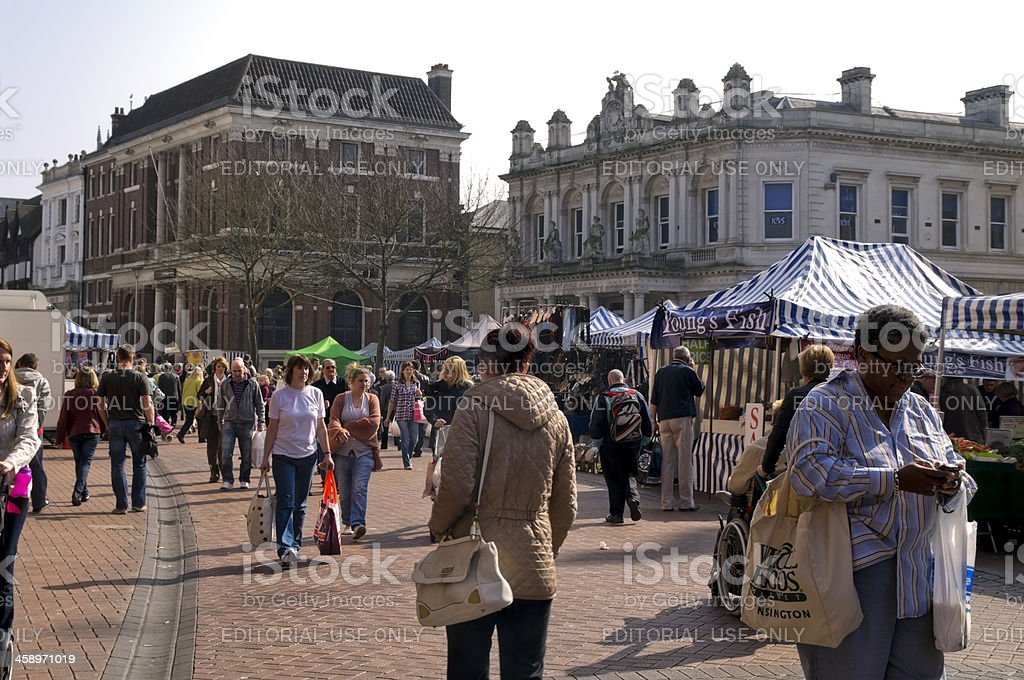 Busy market in Ipswich stock photo